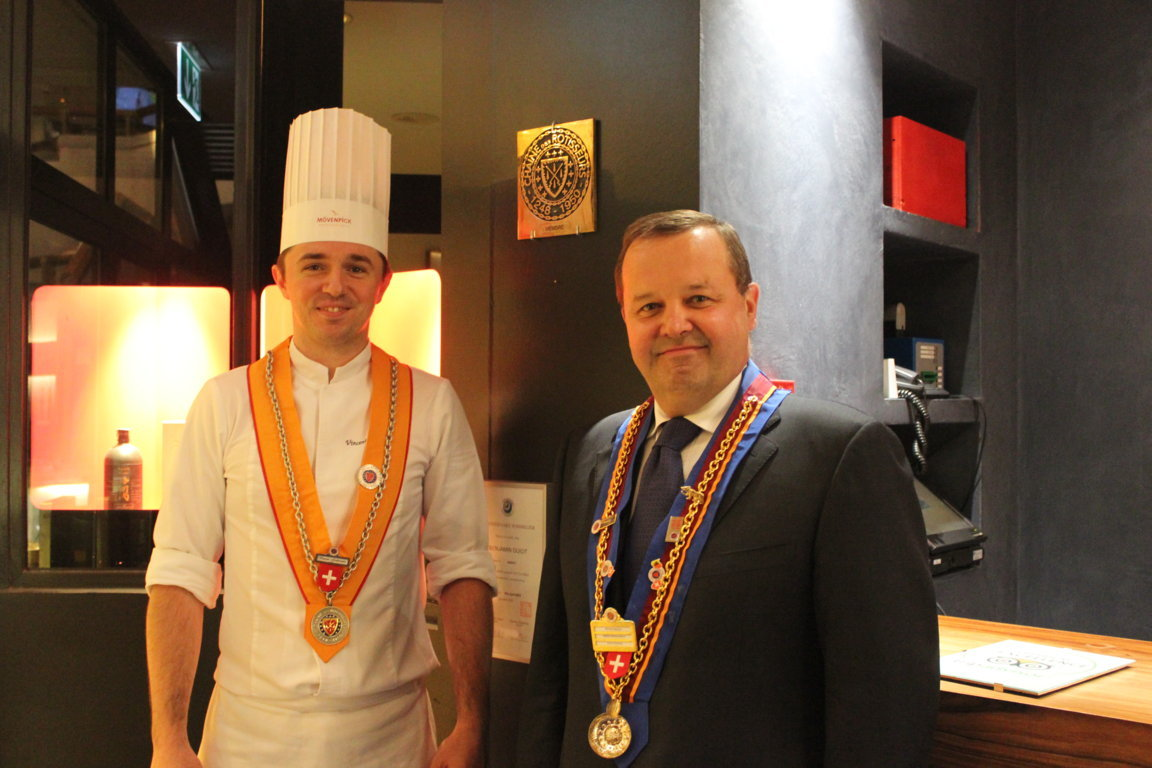Nicolas Meylan, Vice-Échanson of Geneva, and Chef Rôtisseur Vincent Godereaux at the Moevenpick Geneva, Switzerland